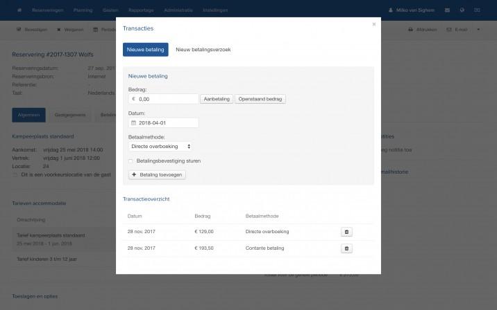 Online Reserveringssysteem Reserveringssysteem Betaalverzoek
