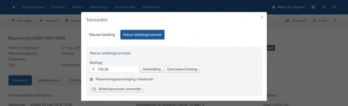 Online Reserveringssysteem Online Reserveringssysteem Betaalverzoek