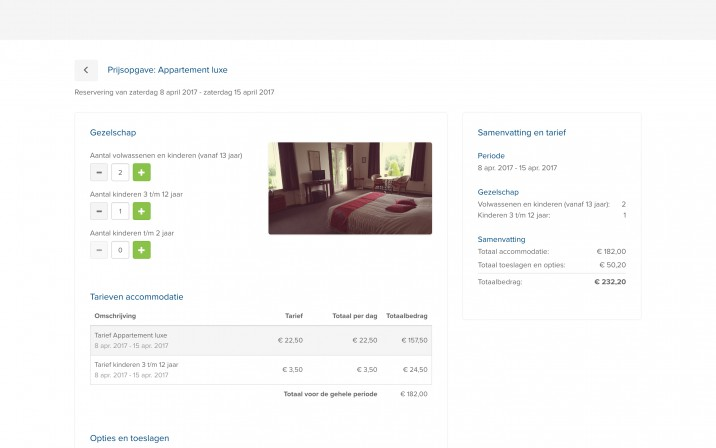 Reserveringssysteem Checkoutpagina Appartementen