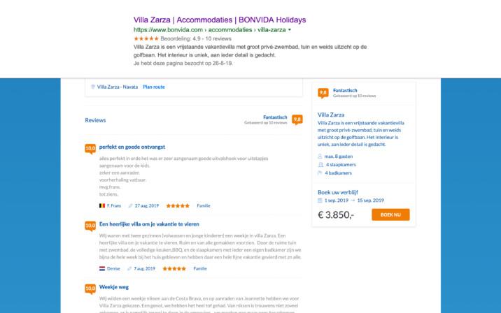 Online reserveringssysteem beoordelingen google indexatie
