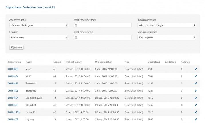 Online reserveringssysteem meterstanden