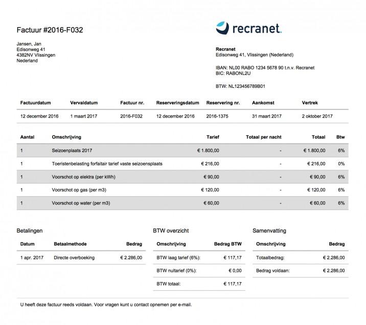 Online reserveringssysteem factuur volledig