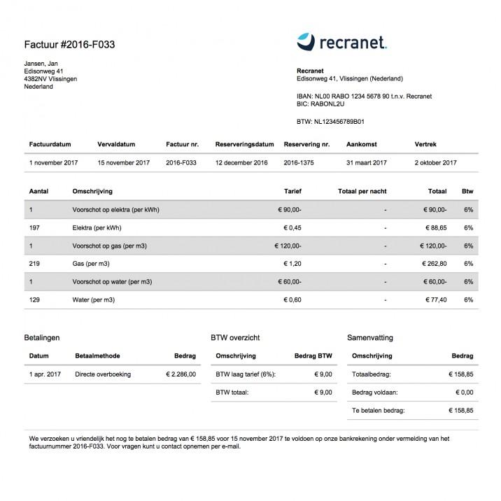 Online reserveringssysteem factuur eindafrekening