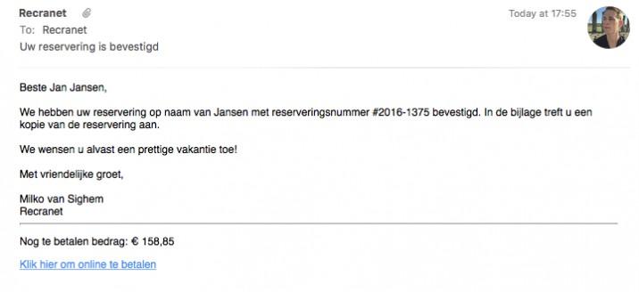 Online reserveringssysteem email reserveringsbevestiging