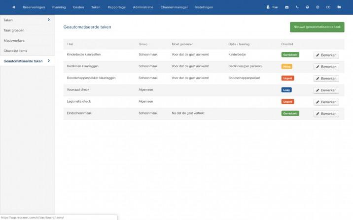 Online reserveringssysteem taken inplannen automatisch