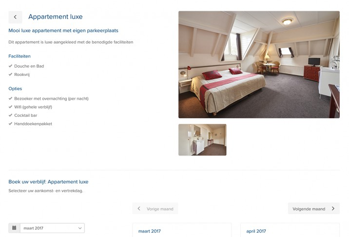 Online reserveringssysteem reserveringssysteem detailpagina appartementen