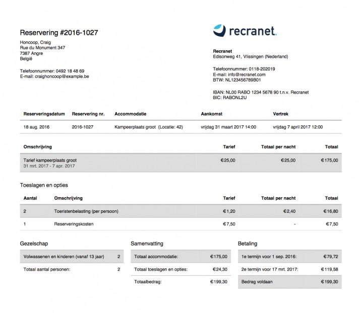 Online reserveringssysteem reserveringsbevestiging