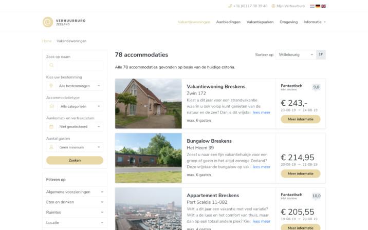 Online reserveringssysteem zoek en boek filters verhuur