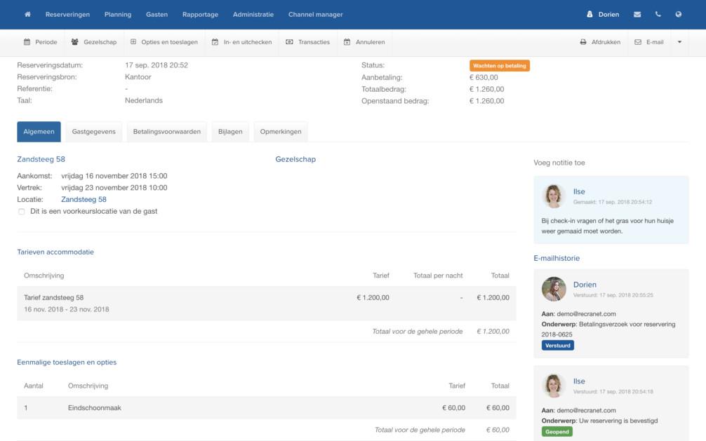 Online Reserveringssysteem Emailhistorie Crm