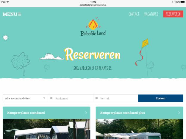 Online Reserveringssysteem Beloofde Land Zoek En Boek iPad