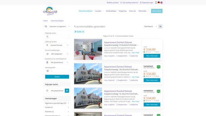 Online reserveringssysteem zoek en boek resultaten